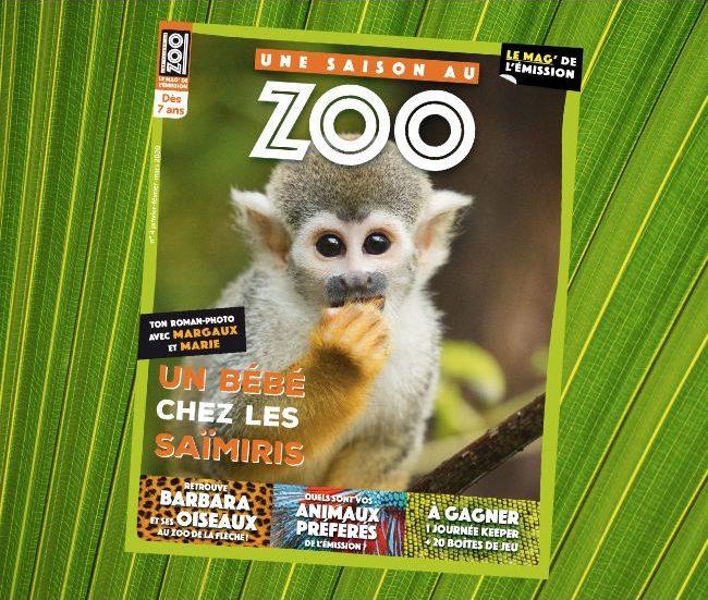 couverture du magazine Une saison au Zoo avec un singe saïrimi en gros plan
